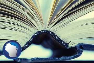 a hardcover book spine (macro photo) - with Wisconsin icon